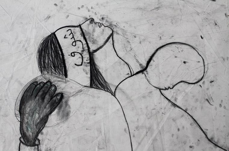 שוף شوف shoof מריה סאלח מחאמיד, 2018, פחם על בד 1200x210 ס_מ ماريا صالح محاميد Maria Saleh Mahameed